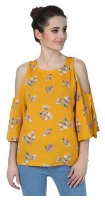 Jollify Women Cotton Geometric - A Line Top Orange