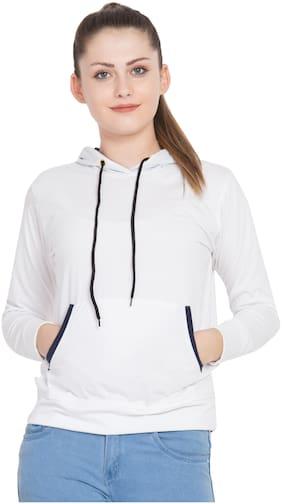 JOLLIY Women Solid Sweatshirt - White