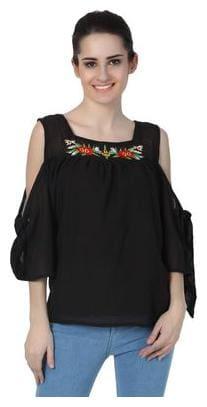 Jollify Women Cotton Geometric - A-line top Black