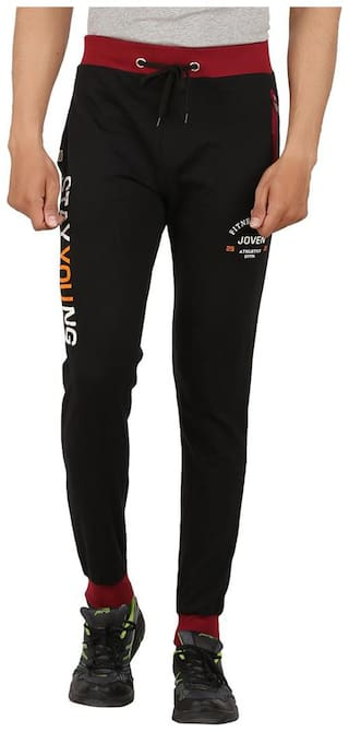 Joven Men Cotton Track Pants - Black