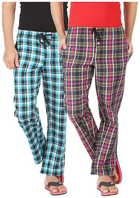 Joven Men Cotton Checked Pyjama - Multi