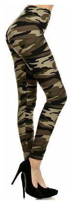 Jubination Army Print Sports Yoga High Rise Compression Fitness Gym Workout Jumba Aerobics Stretchable Leggings (One Piece).