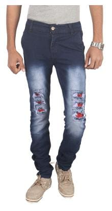 Jubination Blue Damaged Jeans with Red Patches