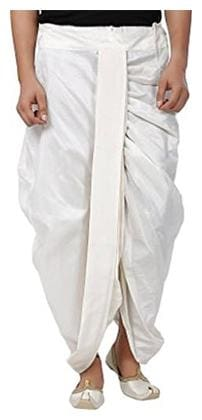 JUBINATION Cotton Solid Regular dhoti Dhoti - White