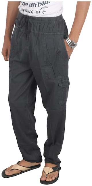 JUBINATION Men Cotton Solid Pyjama - Grey