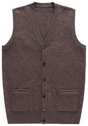 Men Wool Sleeveless Sweater Pack Of 1