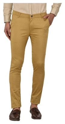 Jugend Beige Stretchable Printed Slim Fit Trousers for men