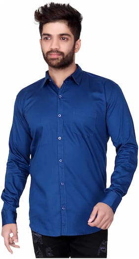 Jugend Men Blue Solid Slim Fit Casual Shirt