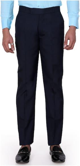 Jugend Men Solid Slim Fit Formal Trouser - Blue