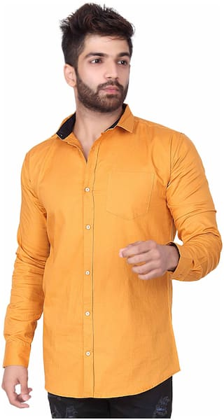 Jugend Men Yellow Solid Slim Fit Casual Shirt