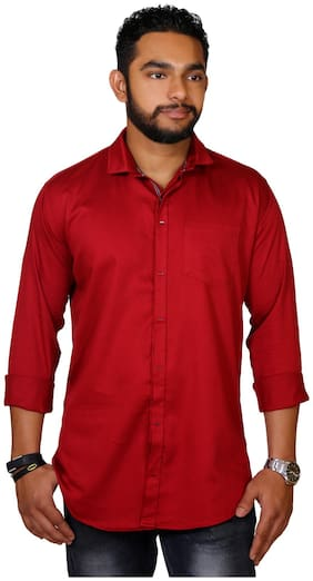 Jugend Men Maroon Solid Slim Fit Casual Shirt