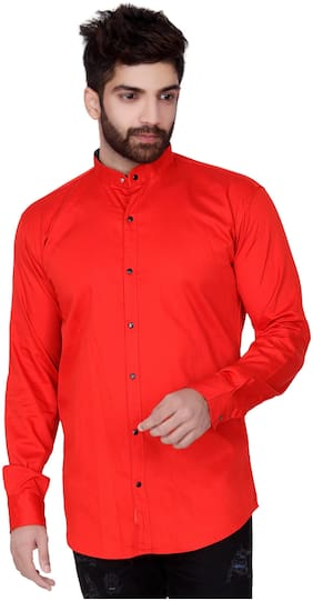 Jugend Men Orange Solid Slim Fit Casual Shirt
