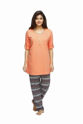 Juliet Women Cotton Solid Top and Pyjama Set - Multi