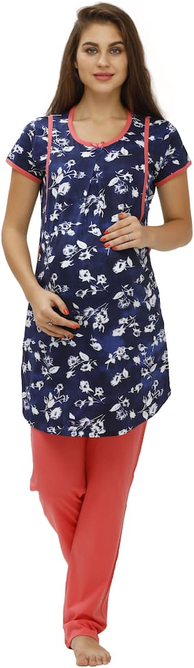 Juliet Women Cotton Floral Top and Pyjama Set Blue