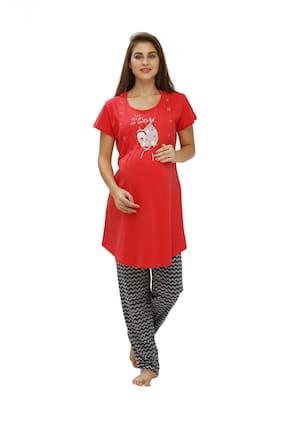 Juliet Women Cotton Printed Top and Pyjama Set Red