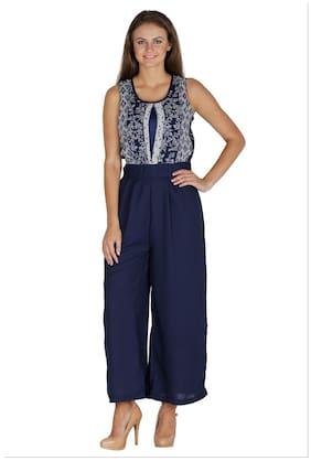 Mayra Printed Jumpsuit - Blue