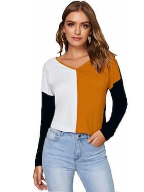 JUNEBERRY Women Multi Regular fit V neck Cotton T shirt