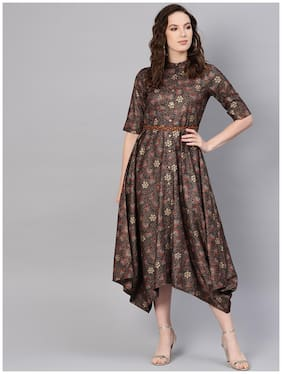 Women Floral Assymetrical Kurti Dress ,Pack Of 1