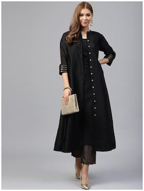Juniper Black Chanderi Jacket Style 2 Pc Kurta