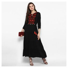 Juniper Women Crepe Embroidered Anarkali Kurta - Black