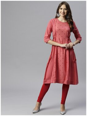 Juniper Women Cotton Solid A Line Kurta - Pink