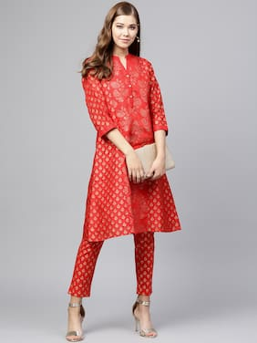 22a1770767 Juniper Women Chanderi Ethnic Motifs A Line Kurta - Red