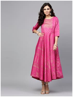 8dab68899 Juniper Women Chanderi Ethnic Motifs A Line Kurti Dress - Pink