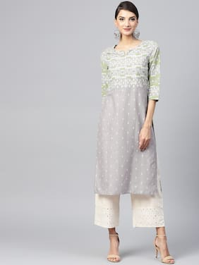 Juniper Grey Printed Long Kurta