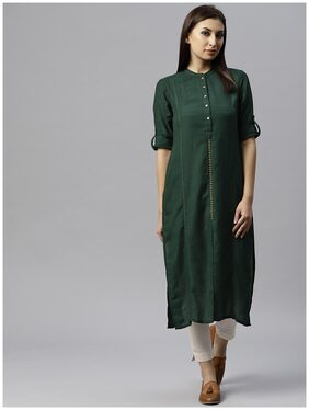 Juniper Women Rayon Solid Straight Kurta - Green