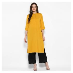 Juniper Women Cotton Solid Straight Kurta - Yellow