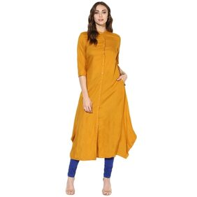 Juniper Mustard Color Long Kurta With Mandarin Collar
