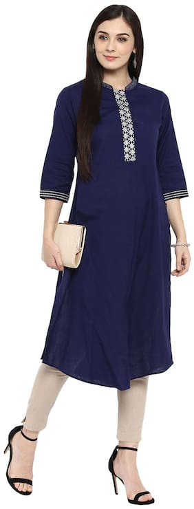 Juniper Women Cotton Solid Straight Kurta - Blue