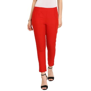 Juniper Red Cotton Flex Solid Straight Pant