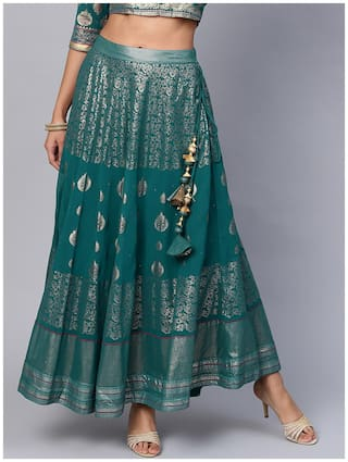 Juniper Turquoise Georgette Placement Print Flared Skirt