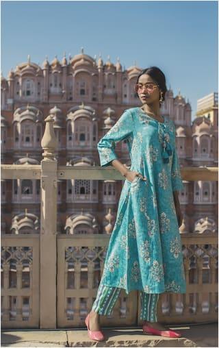Juniper Viscose Rayon Floral Blue Kurta Straight Pants Without Dupatta Women