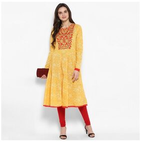 Juniper Women Cotton Floral Anarkali Kurta - Yellow