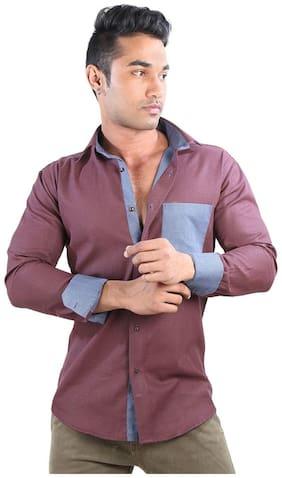 Just Differ Men Slim fit Casual shirt - Maroon
