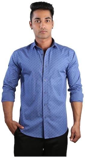 Just Differ Men Blue Printed Slim Fit Casual Shirt