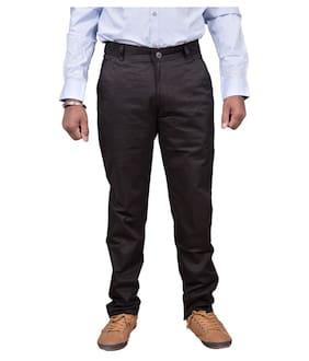 JUST TROUSERS Men Solid Slim Fit Formal Trouser - Black
