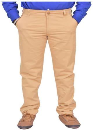 JUST TROUSERS Men Solid Slim Fit Formal Trouser - Beige