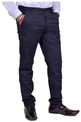 JUST TROUSERS Men Solid Slim Fit Formal Trouser - Blue