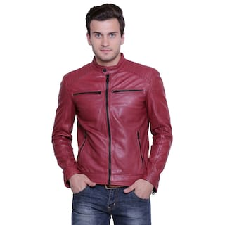 c85b9899529 Blue Jacket Source · Buy Justanned Men Leather Jacket Red Online at Low  Prices in India