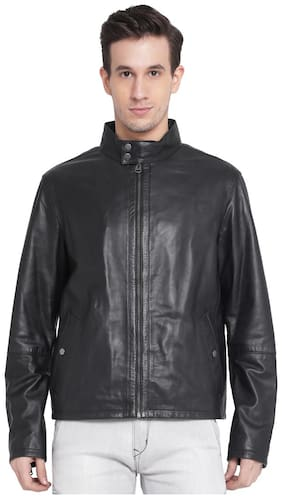 JUSTANNED MEN'S DOUBLE SNAP BAND COLLAR LEATHER JACKET