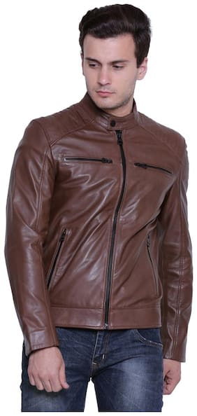 JUSTANNED SOLID SADDLE LEATHER JACKET