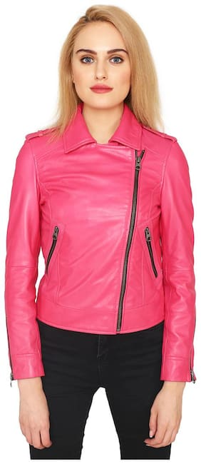 Justanned Women Solid Biker Jacket - Pink
