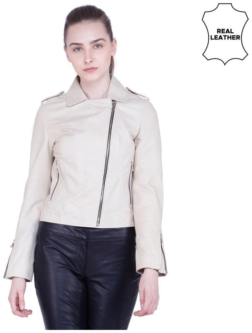 Justanned Women Solid Regular Jacket   Cream