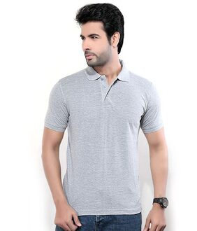 K-TEX GREY POLO NECK SLIM FIT TSHIRT