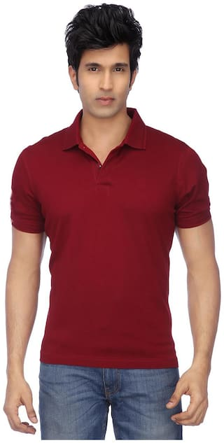 KETEX Men Maroon Slim fit Cotton Blend Polo Collar T-Shirt