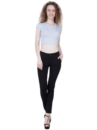 Cotton Black KA Beige amp; For Solid Fashion Women Trouser FC7T7Ixvn