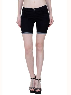 KA Fashion Black Denim Solid Shorts For Women